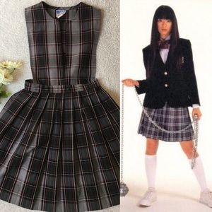 Vintage 90s School girl plaid uniform dress/jumper